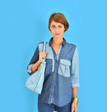 Spring jean clothes collection coming soon Royalty Free Stock Images