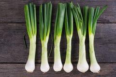 Spring jumbo onion from garden on wooden table Stock Image
