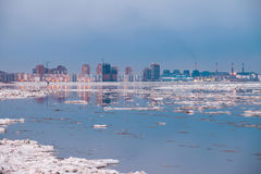 Spring in Khabarovsk. Floating of ice Royalty Free Stock Photos