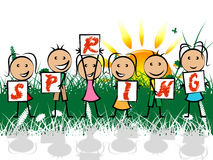 Spring Kids Represents Springtime Youngsters And Children Royalty Free Stock Image