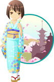Spring kimono girl. Cute and kawaii spring kimono girl at anime style vector illustration