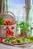 Spring kitchen full of fresh vegetables Stock Photo