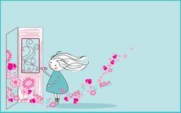 Spring knocks on the door. Vector illustration of spring knocking on the door Royalty Free Stock Image