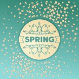 Spring label design with floral ornaments Stock Photo