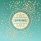 Spring label design with floral ornaments Royalty Free Stock Images