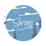 Spring Label Vector Typographic Poster or Greeting Card Design. Spring logo. Vector Typographic Poster. Illustration of birds in the forest Royalty Free Stock Images
