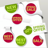 Spring labels collection with text Royalty Free Stock Image