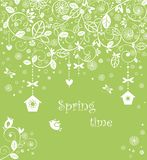 Spring lacy card with funny little birds Stock Image