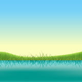 Spring Lake Banner. Illustration of a spring or summer lake banner with grass and fields Royalty Free Stock Image