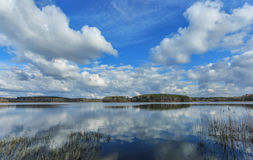 Spring lake. With flying clouds royalty free stock photo