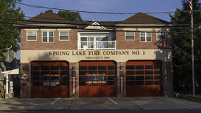 Spring Lake NJ Firehouse. Spring Lake NJ, USA -- July 28, 2016 Spring Lake NJ Firehouse in the morning with blue sky background. editorial use only Royalty Free Stock Photos