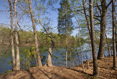Spring on Lake Norman. A springtime scenic of Lake Norman in the Piedmont of North Carolina Stock Photos