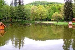 Spring, lake, park. Place to rest there in the park stock photos