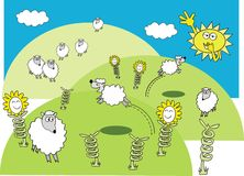 Spring lamb cartoon. Cartoon of spring lambs in fields with smiling flowers Stock Image