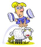 Spring lamb. Comical cartoon illustration of a boy in a purple outfit jumping over a Spring lamb grazing in a field, white background Stock Image