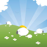 Spring lambs. With their mothers on a nice sunny day, cartoon styled Royalty Free Stock Images