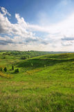 Spring landscape. Spring hills landscape with sun backlight Royalty Free Stock Photography