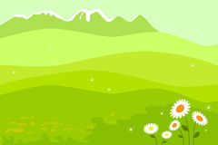Spring landscape. Vector illustration of a spring landscape with a blossom meadow and mountains with the loose snow.EPS file available Royalty Free Stock Image