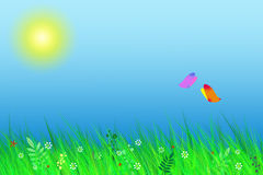 Spring landscape. Solar meadow and flitting butterflies Royalty Free Stock Photos