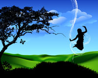 Spring landscape. An illustration of a girl jumping on a green field Royalty Free Stock Photography