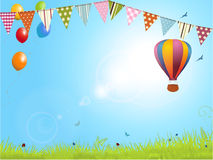 Spring landscape with air balloon and bunting Royalty Free Stock Photos