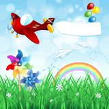 Spring landscape with airplane and banner. Vector eps10 Royalty Free Stock Image
