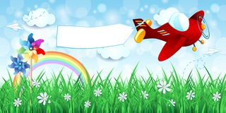 Spring landscape with airplane and banner Royalty Free Stock Photography