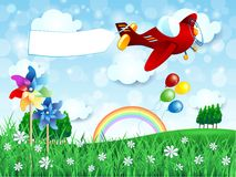 Spring landscape with airplane and banner Stock Photo