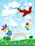 Spring landscape with airplane and banner, vertical version Stock Image