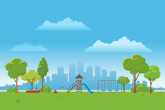Spring landscape background. Public park Vector illustration. city in background Stock Photo