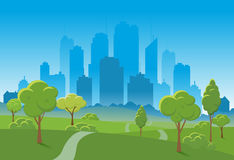 Spring landscape background. Public park Vector illustration. city in background royalty free illustration
