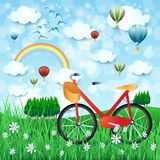 Spring landscape with bike and hot air balloons. Vector illustration eps10 Stock Images