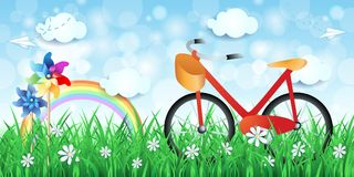 Spring landscape with bike and pinwheels Stock Image