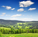 Spring landscape with blue sky. Spring landscape in the national park Sumava - Czech Republic Stock Images