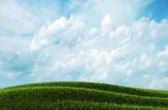 Spring landscape and blue sky. 3d illustration Stock Photos