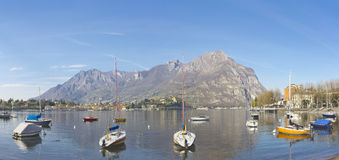Spring landscape with boats on the Lake Como, Lombardy, Italy Stock Images