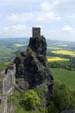 Spring Landscape in Bohemian Paradise with Castle Trosky Royalty Free Stock Photos