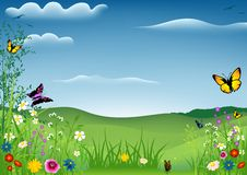 Spring Landscape with Butterflies Royalty Free Stock Images