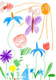 Spring landscape with butterfly and flowers. child drawing. Stock Photo