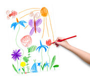 Spring landscape with butterfly and flowers. child drawing. Stock Photography