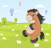 Spring landscape with cartoon pony Royalty Free Stock Image