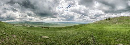 Spring landscape with Caucasus green mountains Royalty Free Stock Photos