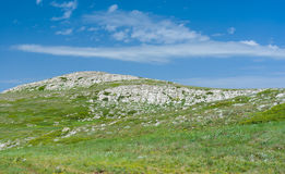 Spring landscape in Chatyr-Dah mountainous massif in Crimea Stock Photo