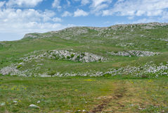 Spring landscape on a Chatyr-Dah mountainous massif, Crimean peninsula Royalty Free Stock Photo