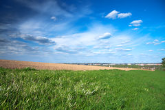 Spring landscape with the city and a field Royalty Free Stock Photography