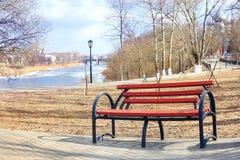 Spring landscape city park bench Stock Photography