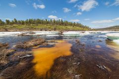 Spring landscape on a creek in Southern Yakutia during an ice break Royalty Free Stock Photography