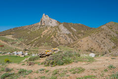 Spring landscape depicting Frog mountain near Sudak town on a Black Sea shore. Crimean peninsula Royalty Free Stock Images