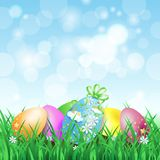 Spring landscape with Easter eggs Royalty Free Stock Photos