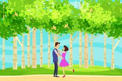 Spring landscape at the edge of the forest, a hill. Meeting lovers of characters in love. Birds singing. Blue sky royalty free illustration